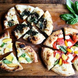 Three Summer Pizzas: Peach & Basil, Roasted Pepper & Tomato, Rapini & Sausage