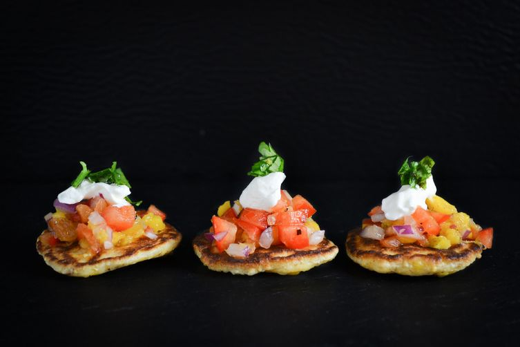 Corn Blinis With Mango Salsa