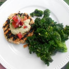 Chipotle Salmon Burgers w Avocado Crema & Pico de Gallo