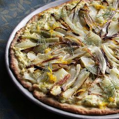 Caramelized Fennel Pizza with Leeks, Ricotta and Orange