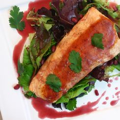Pan Seared Salmon with Pomegranate Reduction