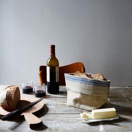 Oatmeal Linen Striped Bread Basket