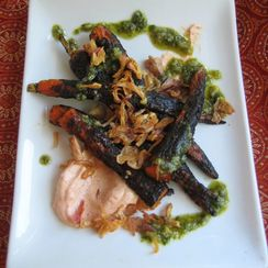Charred Carrots and accompaniments