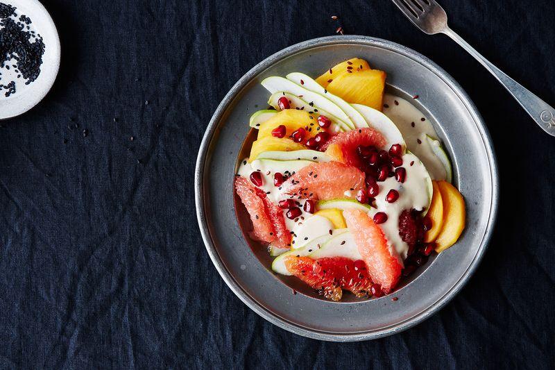 Fruit Salad with Tahini-Coconut Dressing