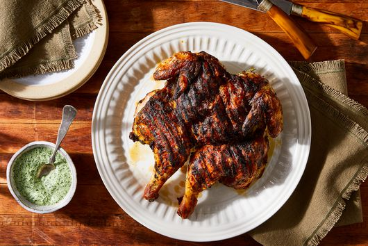 Grilled Spatchcock Chicken With Herby Green Sauce