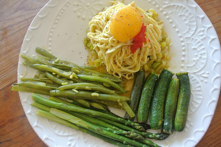 egg yolk with egg tagliolini & spring vegetables