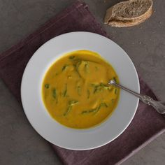 Red lentils, sweet potato, coconut milk and spinach soup