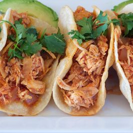 Shredded Red Chile Chicken Tacos