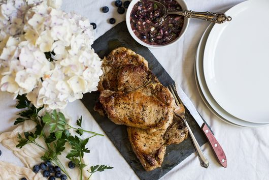 Pan-Seared Pork Chops with Blueberry Herb Sauce