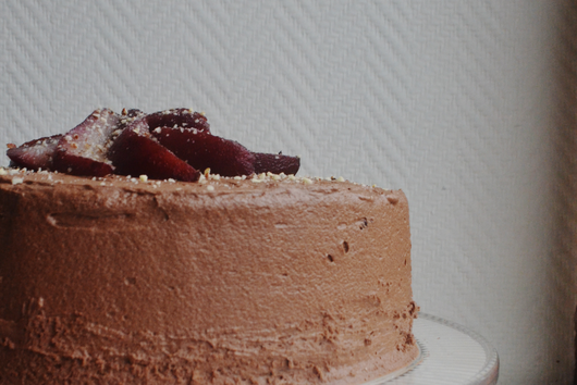 Cocoa Hazelnut cake with mascarpone cream, poached pears and chocolate ganache