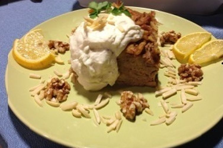 Croissant Baklava Bread Pudding with Lemon-Honey and Greek Yogurt Whipped Cream