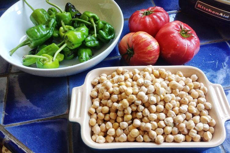 Garbanzo Beans with Padron Peppers and Heirloom Tomatoes