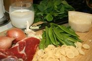 Pasta with Prosciutto, Snap Peas, Mint and Cream