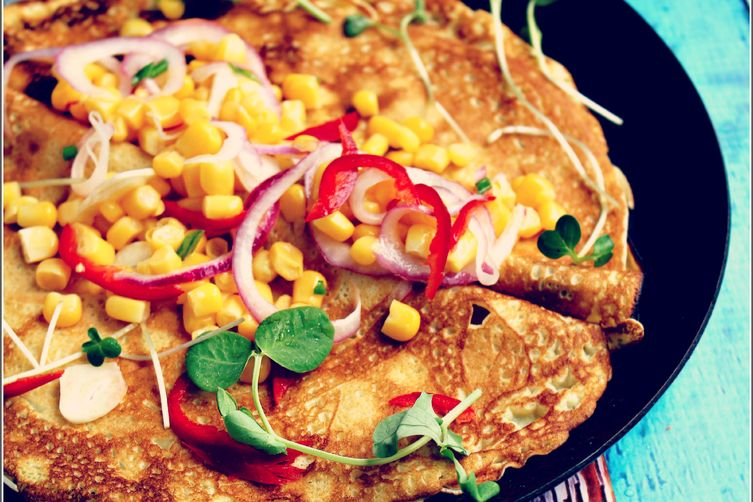 Fresh Corn Salsa Over Savory Crepes