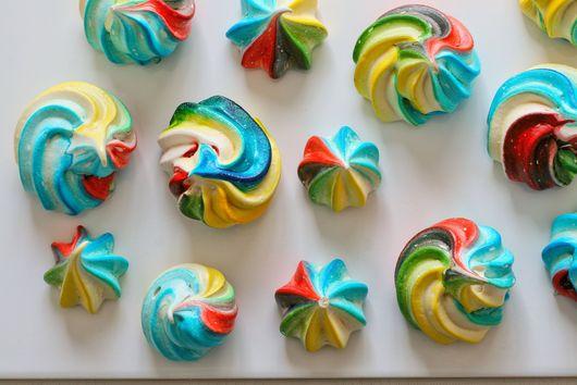 Rainbow meringues