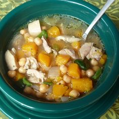 Spicy Butternut Squash & Chicken Soup