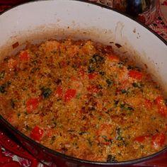 Tomatoey black eyed pea gratin
