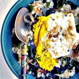 Short Brown Rice Ochazuke with Caramelized Shallots and Fried Egg