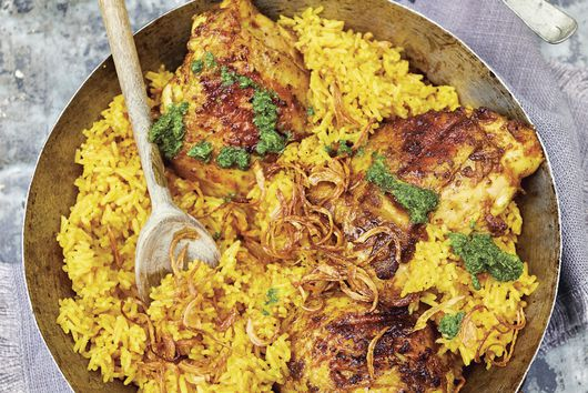 Leela Punyaratabandhu's Ghee-Smoked Chicken & Rice with Spicy Mint Sauce