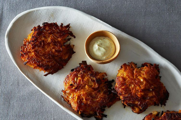 Sweet Potato Cakes with Curried Yogurt