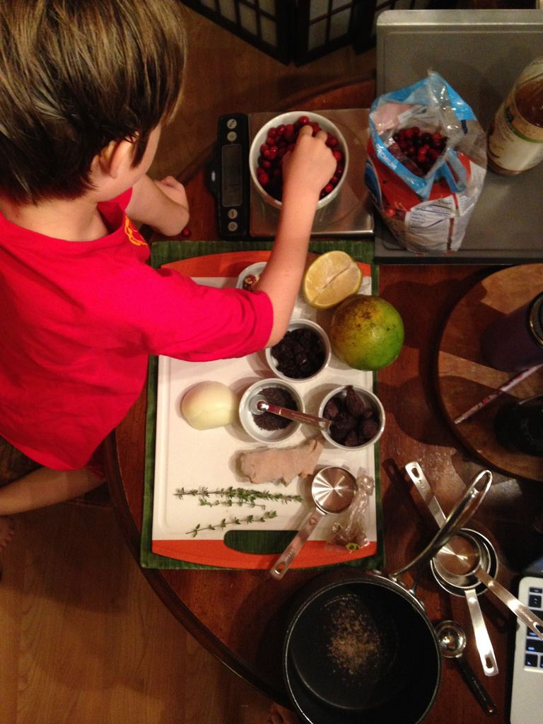 Gingerroot's son making cranberry sauce