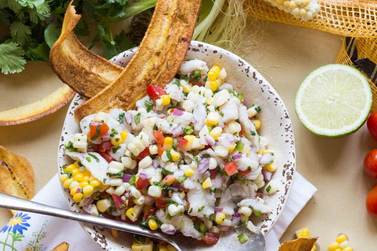 Barramundi Ceviche with Corn + Tomatoes