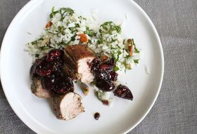 Pork Tenderloin with Cherry Mostarda + Mint Rice Salad