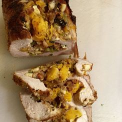 Pork Roast with Crispy Pancetta, Apple, Butternut Squash, and Sage Stuffing