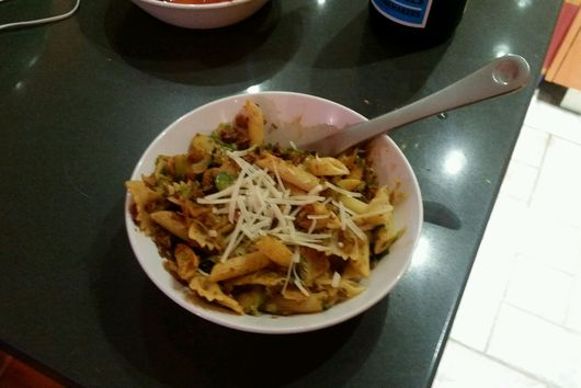 Penne with Shaved Brussel Sprouts and Soyrizo