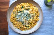 Linguine with Red Pesto and Corn