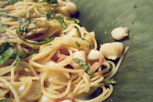 Scallops and Prosciutto over Capellini