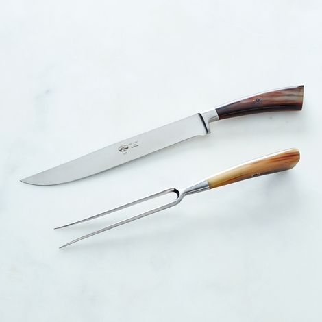 Berti I Forgiati Carving & Serving Set with Ox Horn Handles