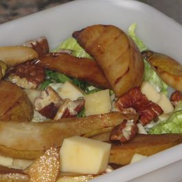 Pangrilled pear salad with pecans and maple dressing by Karen