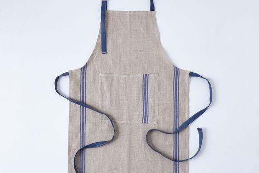 Oatmeal Linen Striped Apron