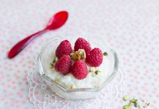Coconut Rice Pudding with Raspberries