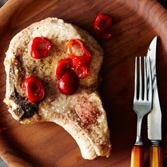Pan-Fried Pork Chops with Vinegar Peppers