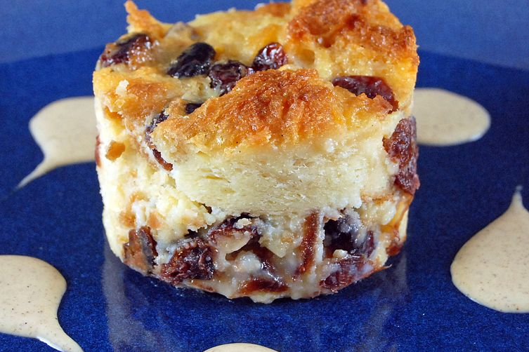 Cranberry Bread Pudding with Pumpkin Spiced Creme Anglaise