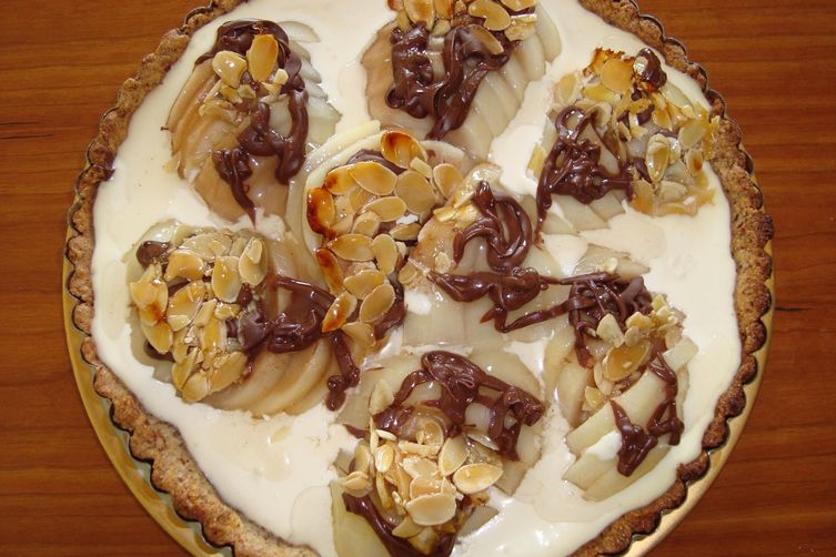 Pear and Nutella Tart with Maple Almond Brittle