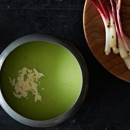 english pea soup with garlic cream by nana marie