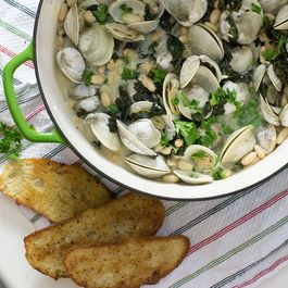 Clams Steamed with Kale and White Beans