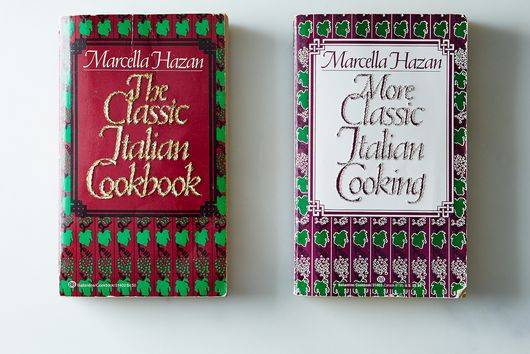 Hand-Embroidered Marcella Hazan Cookbooks, Set of Two