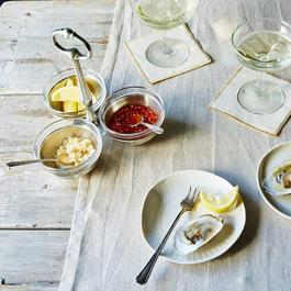 Pewter & Glass Condiment Trio Tray