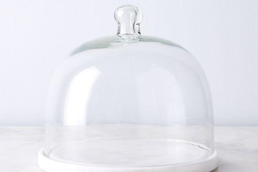 Round Marble Platter & Glass Cloche