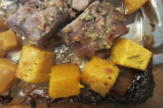 Pork tenderloin roasted with butternut squash