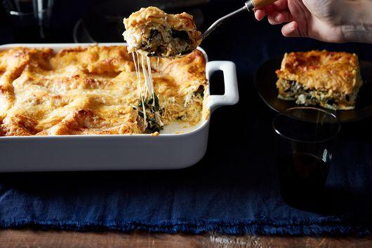 Kale and Italian Sausage Lasagna with Pumpkin Béchamel