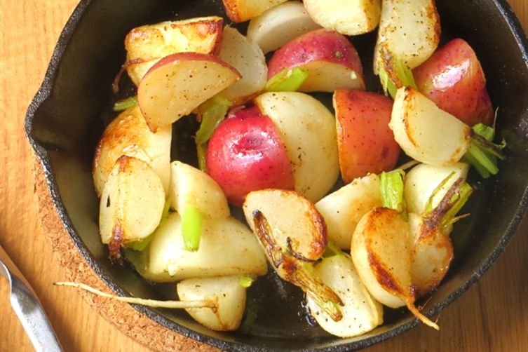turnips, potatoes and greens