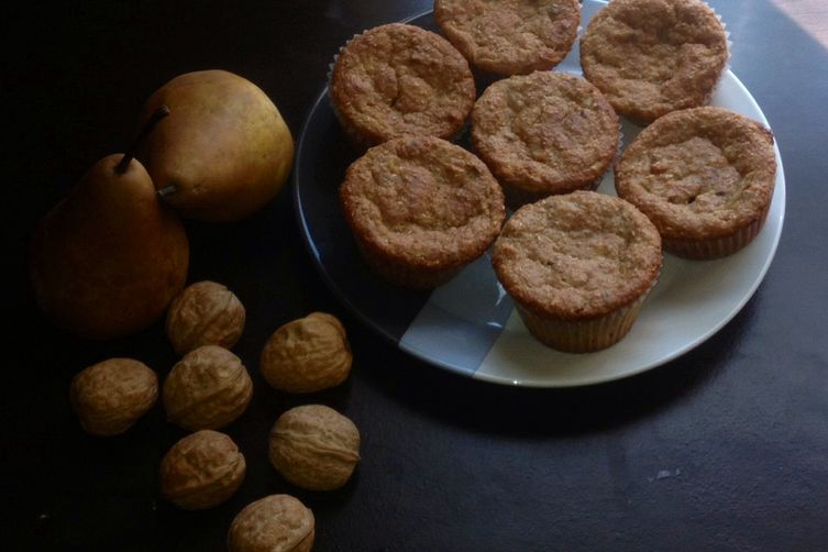 Walnut Pear Bran Muffins
