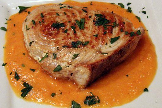 Seared Swordfish with Tomato-Saffron Coulis