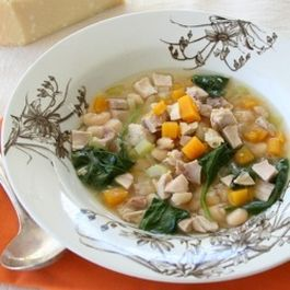 Turkey soup with butternut squash, white beans and spinach