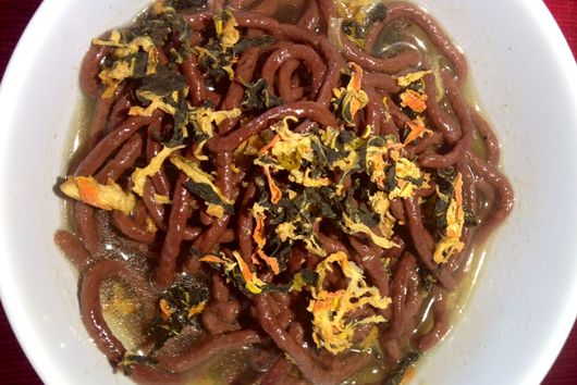 Pig Blood Noodles with Smoked Stock and Dehydrated Kimchi
